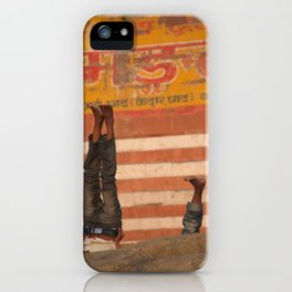 Doing Yoga on the Ghats iPhone Case