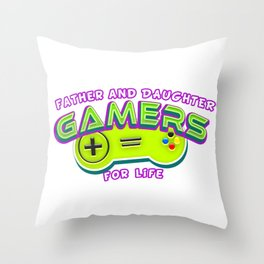 Father and Daughter Gamers For Life Throw Pillow