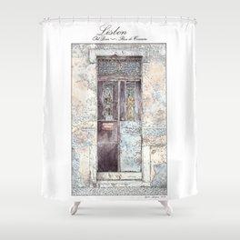 Old Door-Urban landscape-Lisbon-Portugal-Watercolor Shower Curtain