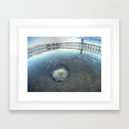 Chris Harsh Photos * A Low Tide Sand Dollar * Huntington Beach Pier  Framed Art Print