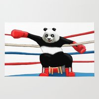 boxing Area & Throw Rugs featuring Boxing Panda by Joker-laugh