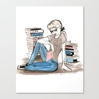 bookworm Canvas Prints featuring Bookworm by Steak and Unicorns