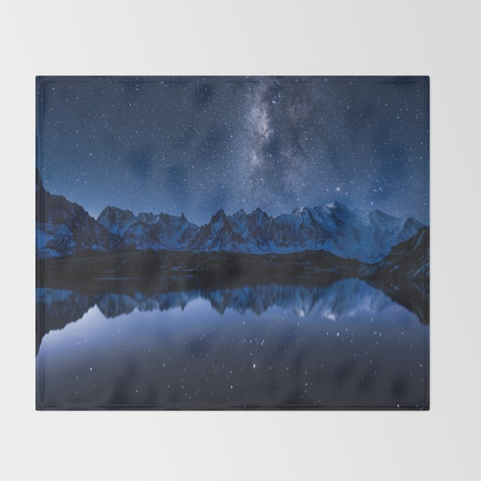 Night mountains throw blanket by Black Winter