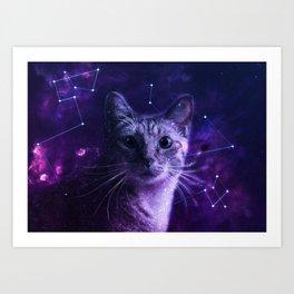Cute Galaxy Cat Art Print