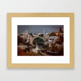 An Old bridge in Mostar Framed Art Print