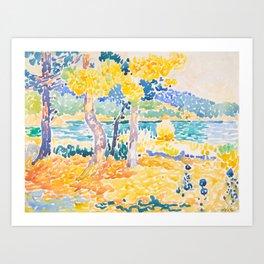 Pines on the Coastline Henri-Edmond Cross Neo-Impressionism Pointillism Watercolor Painting Art Print
