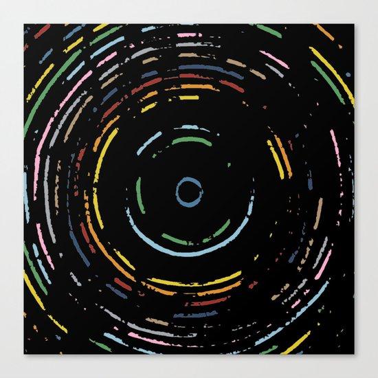 Rainbow Record on Black Closeup Canvas Print