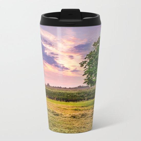 Green Tree and Sunset Sky Metal Travel Mug