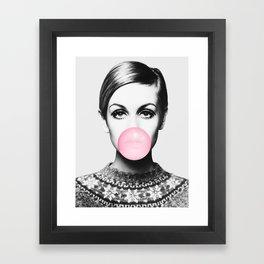 Twiggy, Bubble gum, Pink, Woman, Girl, Fashion, Face Framed Art Print