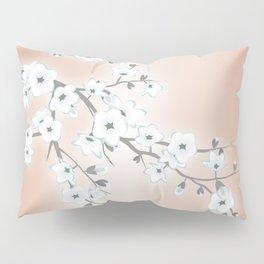 Rose Gold White Cherry Blossom Pillow Sham