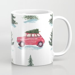 Red car and christmas tree in forest Coffee Mug