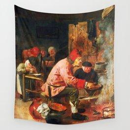 Men around the stew pot Panca Adriaen Brouwer Wall Tapestry