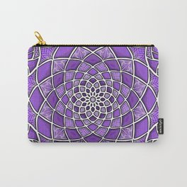12-Fold Mandala Flower in Purple Carry-All Pouch