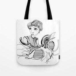 Woman On Bird Tote Bag