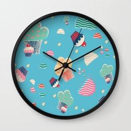Cupcake blue Wall Clock