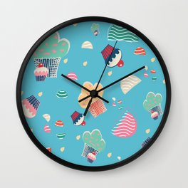 Cupcake blue Wall Clock