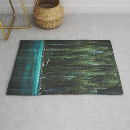 Nature Photo - Turquoise Blue Lake and Tall Pines Rug