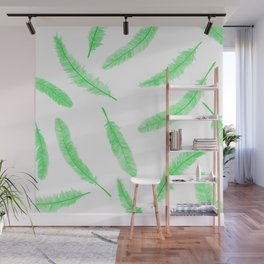 Green feathers Wall Mural