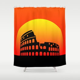 Sunset and colosseum in a red sky Shower Curtain