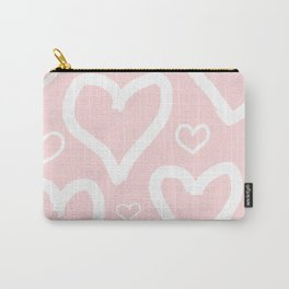Millennial Pink Pastel Hearts Carry-All Pouch