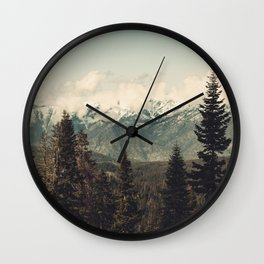 Snow capped Sierras Wall Clock