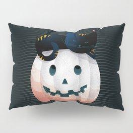 065 - tired kitty on the Halloween pumkpin Pillow Sham