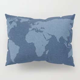 Denim Map Pillow Sham