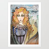 black widow Art Prints featuring Widow by Aleksandra Jevtovic
