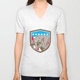 Elephant Prancing Stars Shield Retro Unisex V-Neck