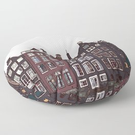 Traditional houses in Amsterdam Floor Pillow