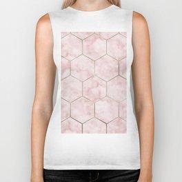Cloudy pink marble hexagons Biker Tank