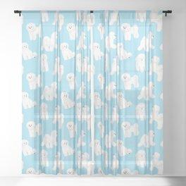 Bichon Frise Pattern (Blue Background) Sheer Curtain