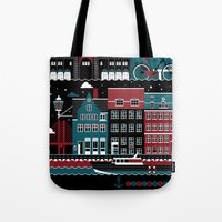 copenhagen Tote Bags featuring Copenhagen by koivo