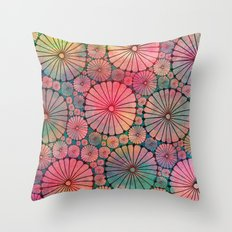Abstract Floral Circles Throw Pillow