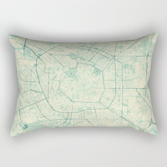 Milan Map Blue Vintage Rectangular Pillow