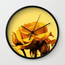 Vintage Yellow Rose and buds Wall Clock