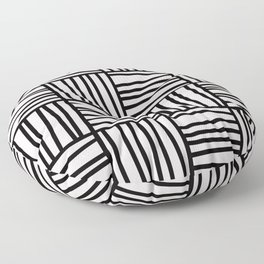 Bold Graphic Memphis Pattern, Black & Pink Blocks & Lines Floor Pillow
