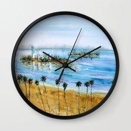 Long Beach Oil Islands Before Sunset Wall Clock