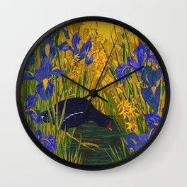 Iris and Moorhen Wall Clock