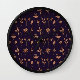 Hand Drawn Floral Elements Wall Clock