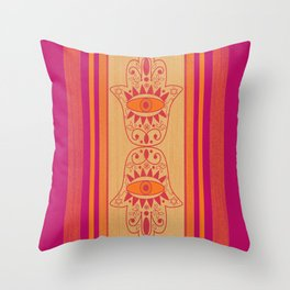 Double Orange Denim Hamsa Throw Pillow