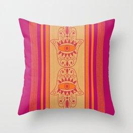 Double Orange Denim Hamsa Throw Pillow
