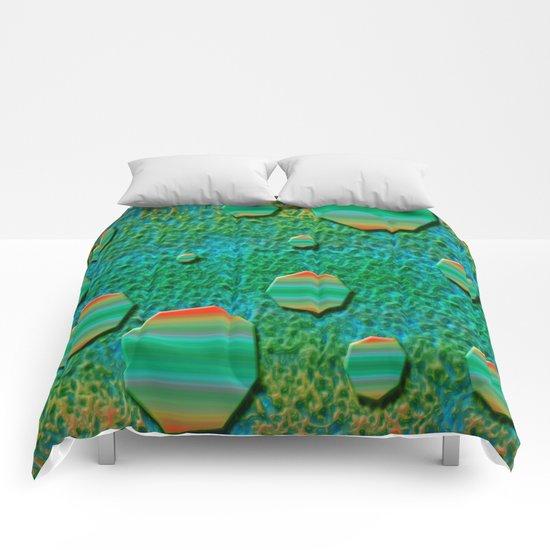 Celestial Octagon Orbs of Planet Uranus Comforters