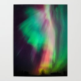 Big beautiful multicolored northern lights in Finland Poster