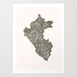 Lettering map of Perú Art Print