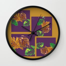 Gold leaf painting and graphic design, brown green purple Wall Clock
