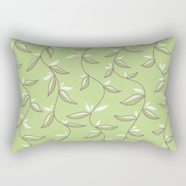 Gentle Green Leaves And Lianas Pattern Rectangular Pillow