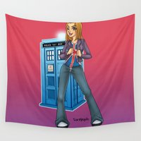 tyler spangler Wall Tapestries featuring Doctor Who - Rose Tyler by Roe Mesquita