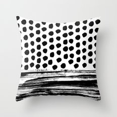 Zoe - Black and white dots, stripes, painted, painterly, hand-drawn, bw, monochrome trendy design Throw Pillow