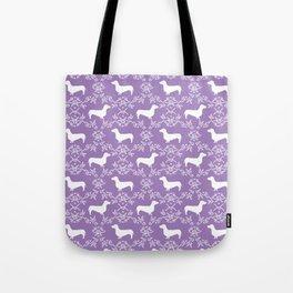 Dachshund purple florals pet portrait dog art dachsie doxie pet art dog breeds Tote Bag